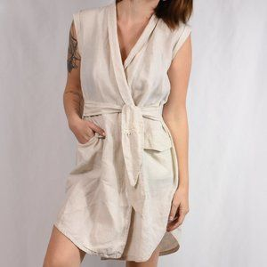 AYR The Linen Utility Trench Dress Sz S